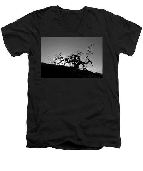 Tree Of Light Silhouette Hillside - Black And White  Men's V-Neck T-Shirt