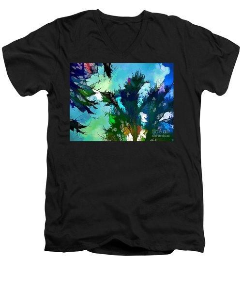 Tree Spirit Abstract Digital Painting Men's V-Neck T-Shirt