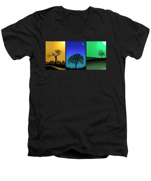 Tree Triptych Men's V-Neck T-Shirt by Mark Rogan