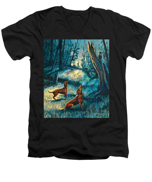 Men's V-Neck T-Shirt featuring the painting Treed At Dawn by Suzanne McKee