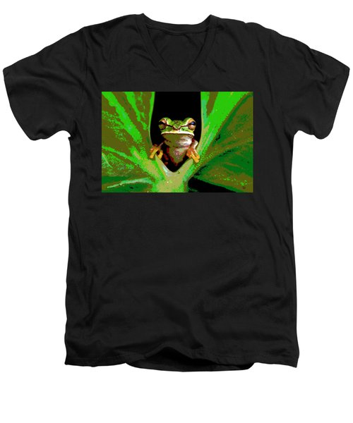 Men's V-Neck T-Shirt featuring the mixed media Treefrog by Charles Shoup