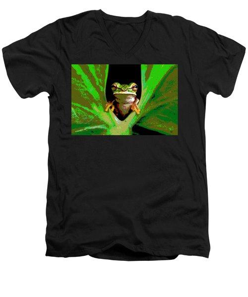 Treefrog Men's V-Neck T-Shirt by Charles Shoup