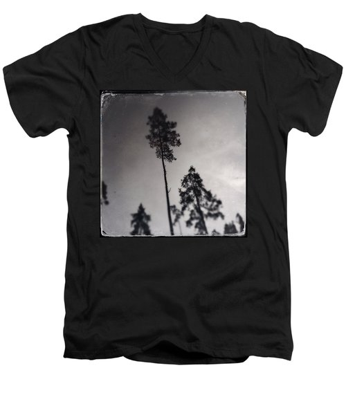 Trees Black And White Wetplate Men's V-Neck T-Shirt
