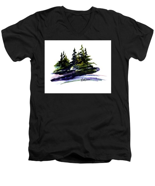 Men's V-Neck T-Shirt featuring the painting Trees by Marti Green