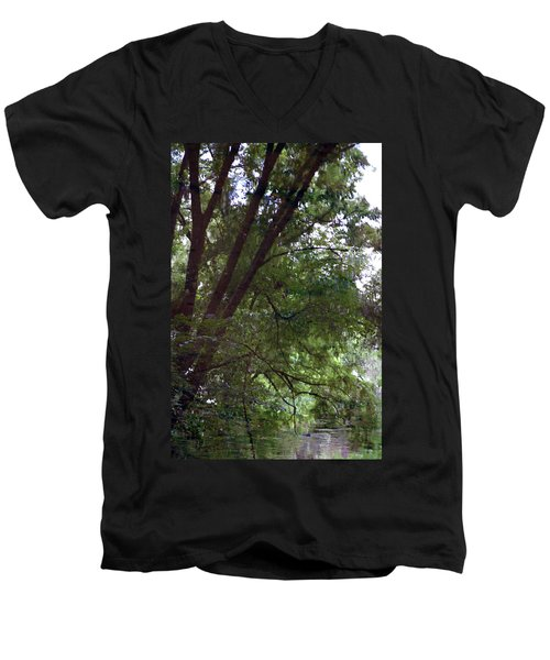 Trees Reflected In A Woodland Stream 2867 H_2 Men's V-Neck T-Shirt