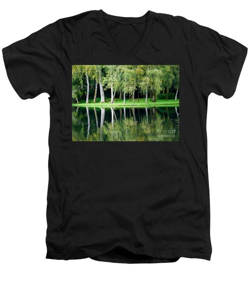 Trees Reflected In Water Men's V-Neck T-Shirt by Colin Rayner