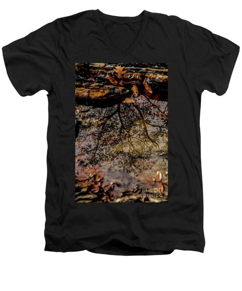 Men's V-Neck T-Shirt featuring the photograph Tree's Reflection by Iris Greenwell
