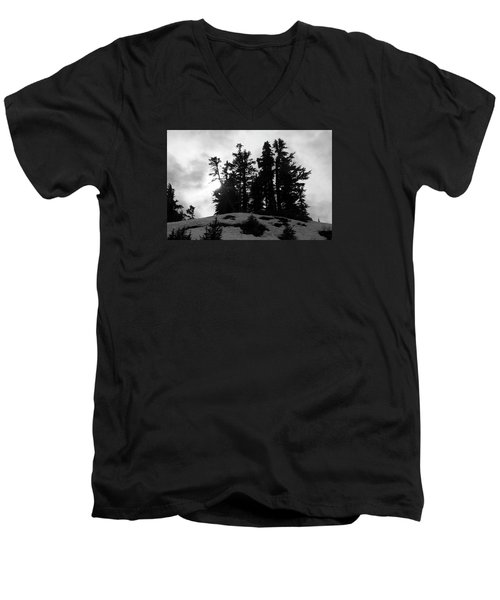 Trees Silhouettes Men's V-Neck T-Shirt by Yulia Kazansky
