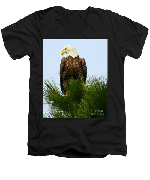 Men's V-Neck T-Shirt featuring the photograph Treetop Eagle by Myrna Bradshaw