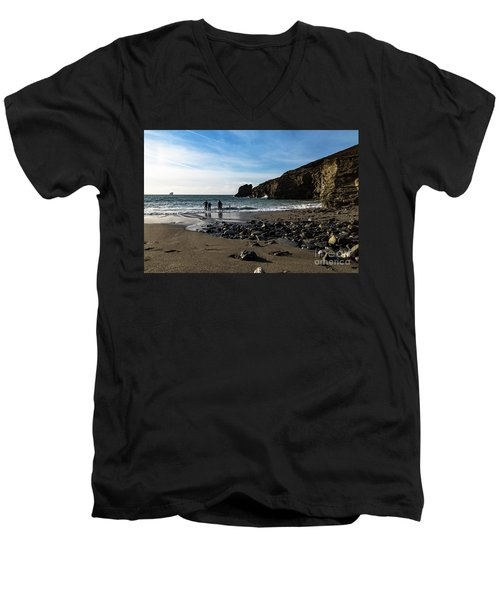 Men's V-Neck T-Shirt featuring the photograph Trevellas Cove by Brian Roscorla