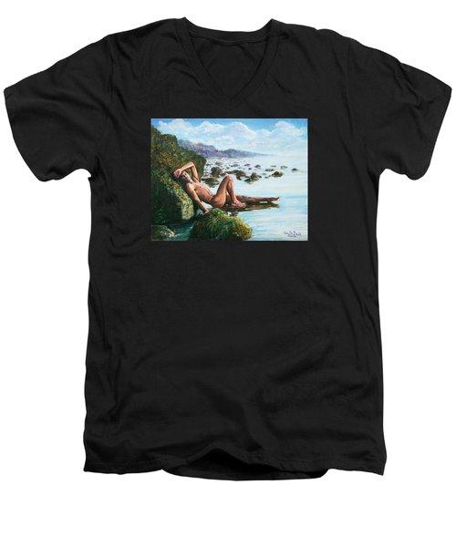 Trevor On The Beach Men's V-Neck T-Shirt