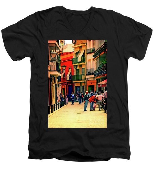 Men's V-Neck T-Shirt featuring the photograph Triana On A Sunday Afternoon 3 by Mary Machare