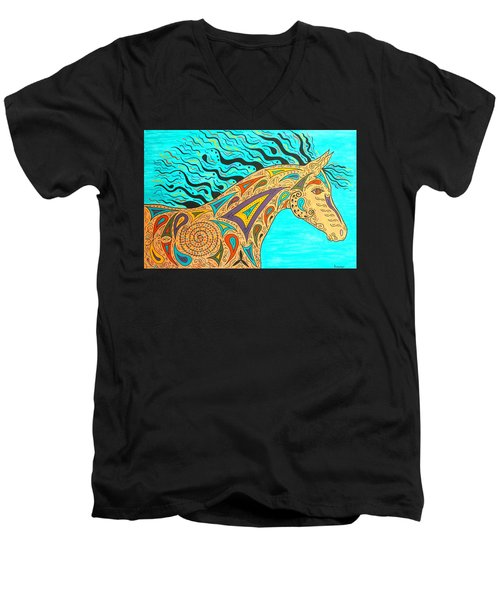 Tribal Carnival Spirit Horse Men's V-Neck T-Shirt by Susie WEBER