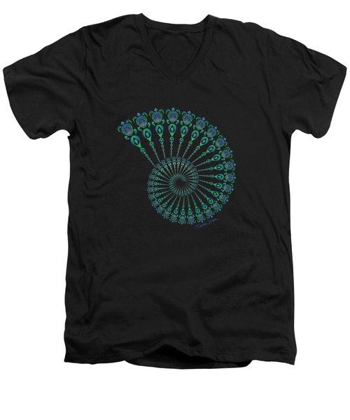 Tribal Turtle Spiral Shell Men's V-Neck T-Shirt