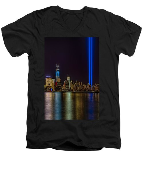Tribute In Lights Memorial Men's V-Neck T-Shirt by Susan Candelario