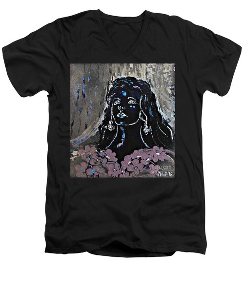 Tribute To Amalia Rodrigues Men's V-Neck T-Shirt by AmaS Art