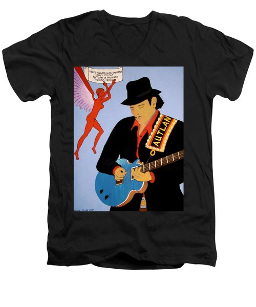 Men's V-Neck T-Shirt featuring the painting Tribute To Carlos by Stephanie Moore