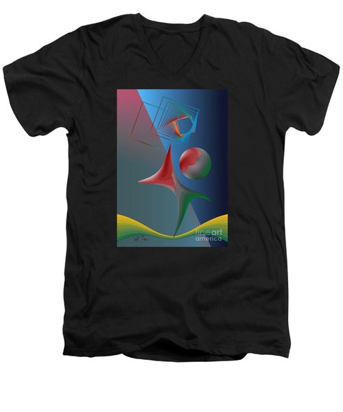 Trick Men's V-Neck T-Shirt by Leo Symon