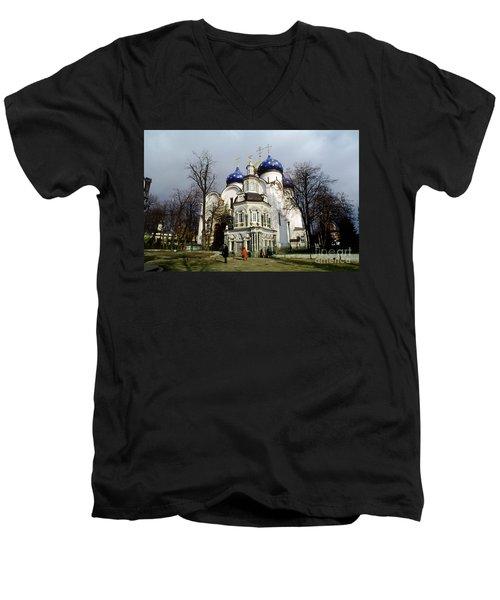 Trinity Lavra Of St. Sergius Russian Orthodox Churchsergiev Posad Men's V-Neck T-Shirt by Wernher Krutein