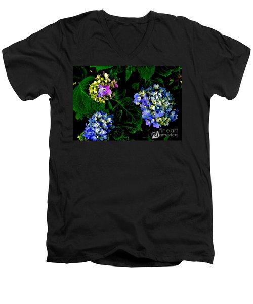 Triple Hydrangia In Spring Men's V-Neck T-Shirt by Marsha Heiken