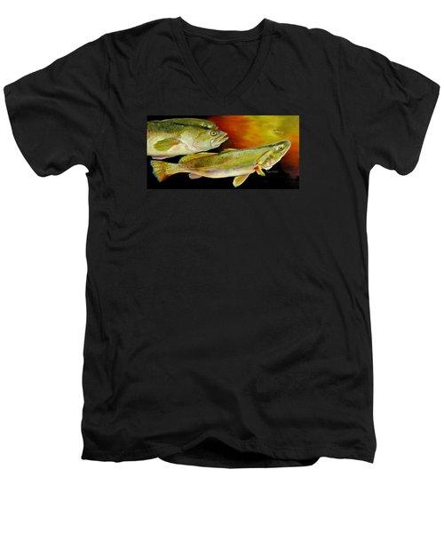 Triple Trout Men's V-Neck T-Shirt