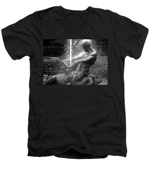 Triton Fountain Men's V-Neck T-Shirt by Alex Galkin