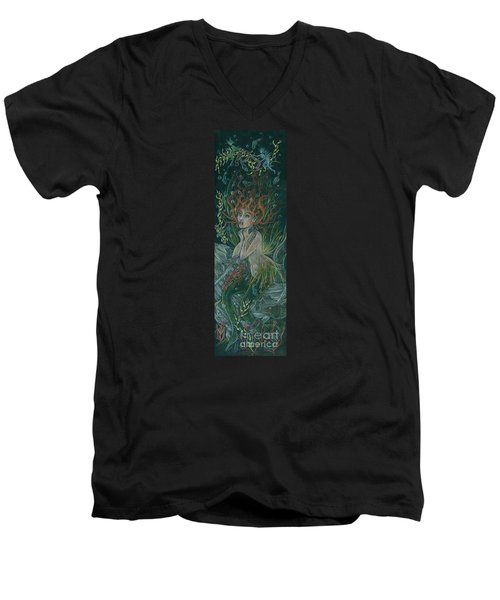 Men's V-Neck T-Shirt featuring the drawing Triumph Escapes Maximilian's Arch by Dawn Fairies