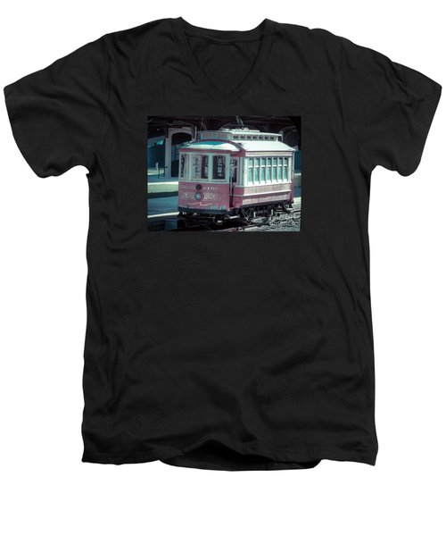 Men's V-Neck T-Shirt featuring the photograph The Trolley by Melissa Messick