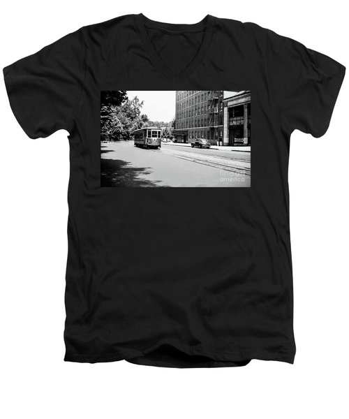 Men's V-Neck T-Shirt featuring the photograph Trolley With Packard Building  by Cole Thompson