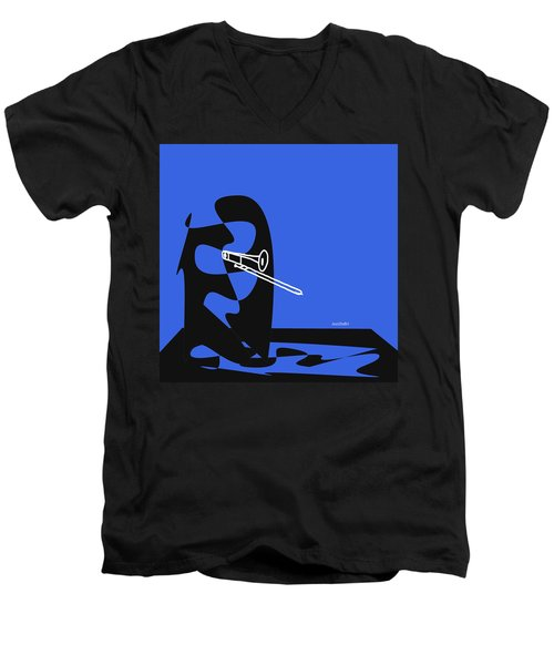 Men's V-Neck T-Shirt featuring the digital art Trombone In Blue by Jazz DaBri