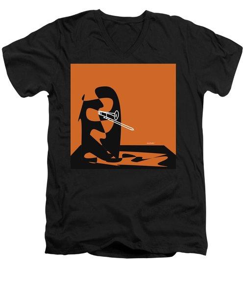 Trombone In Orange Men's V-Neck T-Shirt by David Bridburg