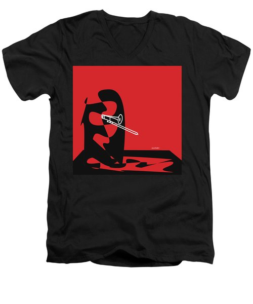 Men's V-Neck T-Shirt featuring the digital art Trombone In Red by Jazz DaBri