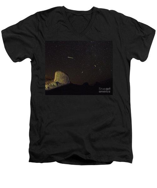 Trona Pinnacles Perseids Meteor Shower Men's V-Neck T-Shirt