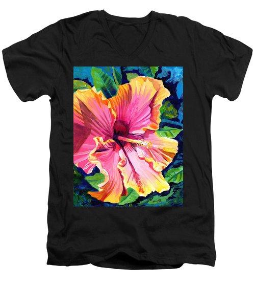 Tropical Bliss Hibiscus Men's V-Neck T-Shirt