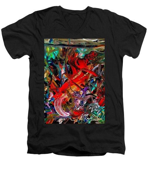 Tropical Cat Atack Men's V-Neck T-Shirt