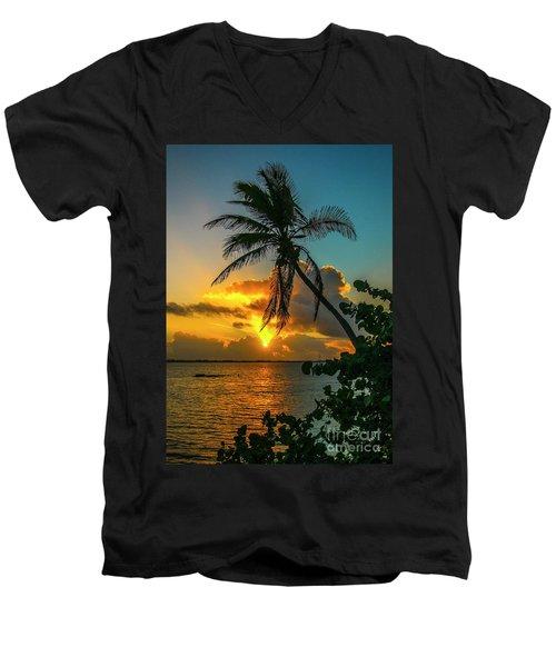 Tropical Lagoon Sunrise Men's V-Neck T-Shirt