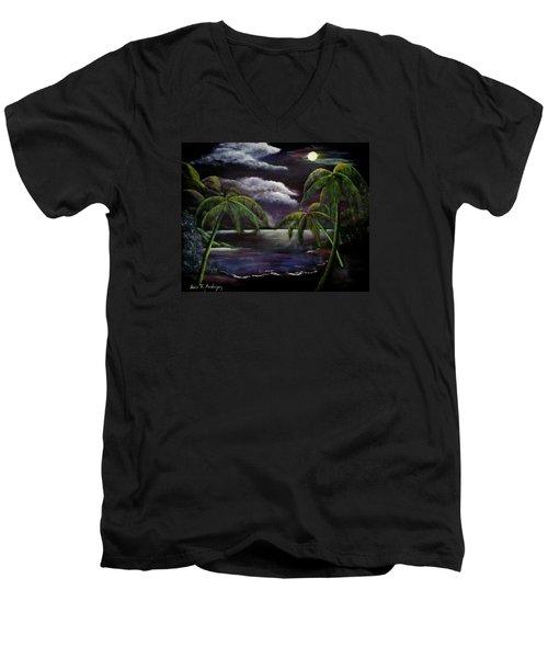 Tropical Moonlight Men's V-Neck T-Shirt by Luis F Rodriguez