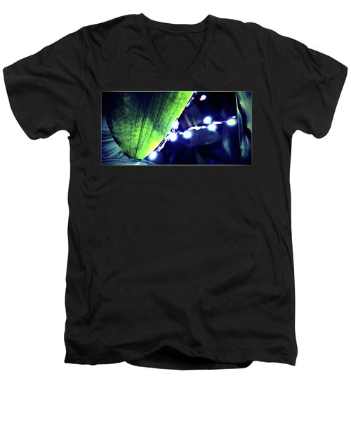 Men's V-Neck T-Shirt featuring the digital art Tropical Night by Mindy Newman
