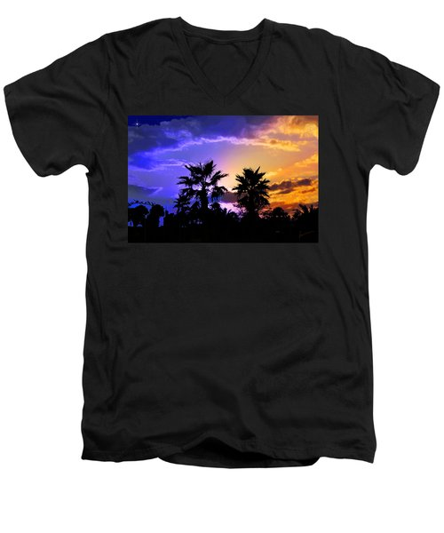Men's V-Neck T-Shirt featuring the photograph Tropical Nightfall by Francesa Miller