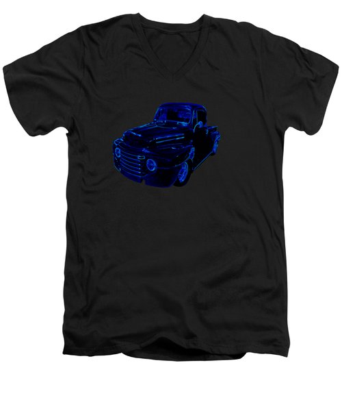 Truck Art Neon Blue Men's V-Neck T-Shirt