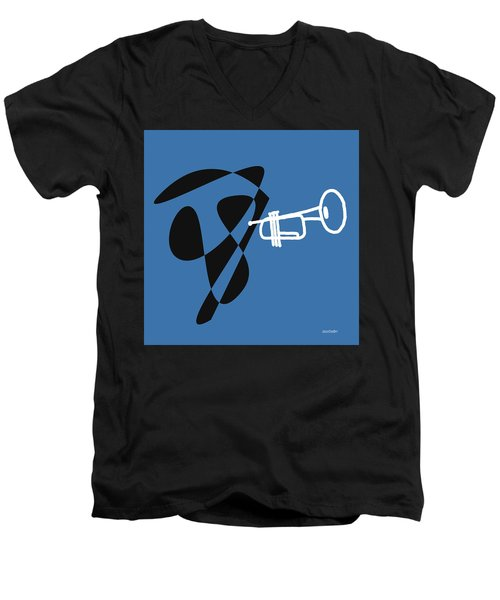 Men's V-Neck T-Shirt featuring the digital art Trumpet In Blue by Jazz DaBri