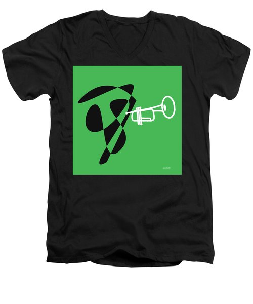 Men's V-Neck T-Shirt featuring the digital art Trumpet In Green by Jazz DaBri