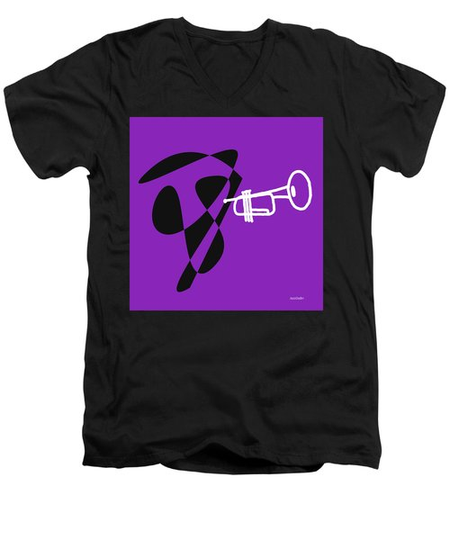 Men's V-Neck T-Shirt featuring the digital art Trumpet In Purple by Jazz DaBri