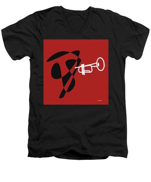 Trumpet In Orange Red Men's V-Neck T-Shirt by David Bridburg