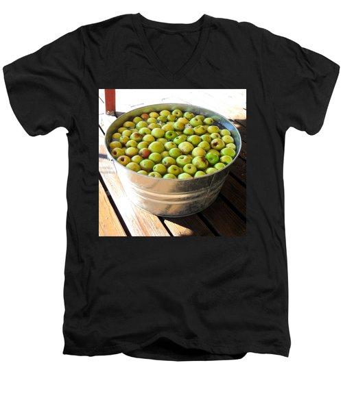 Tub Of Fuji Apples Men's V-Neck T-Shirt by Mark Barclay