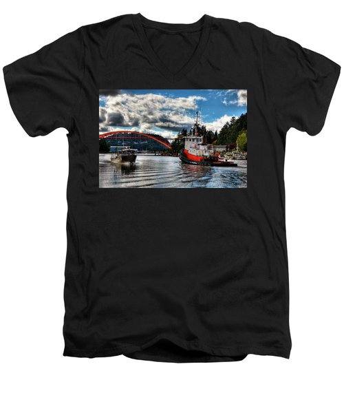 Tugboat At The Rainbow Bridge Men's V-Neck T-Shirt by David Patterson