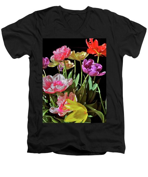 Men's V-Neck T-Shirt featuring the photograph Tulip 8 by Pamela Cooper
