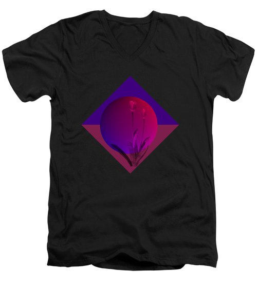 Tulip Abstract Men's V-Neck T-Shirt by Nancy Pauling