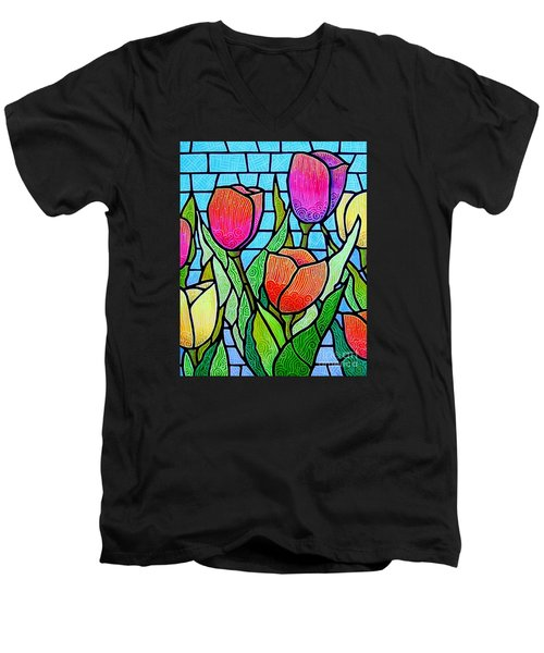 Men's V-Neck T-Shirt featuring the painting Tulip Garden by Jim Harris