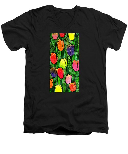 Men's V-Neck T-Shirt featuring the painting Tulip Glory by Jim Harris